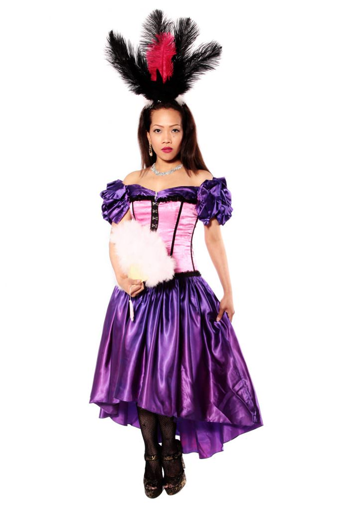 Moulin Rouge Purple Satin Dress With Pink Corset Costume